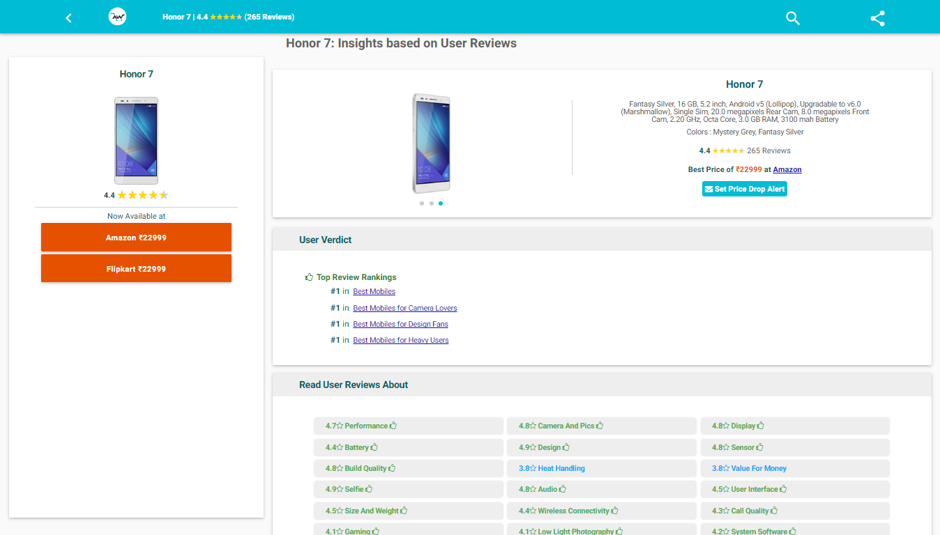 buy Honor 7 mobile online at aspectwise.in