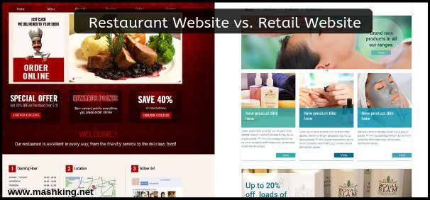 Restaurant Website vs. Retail Website