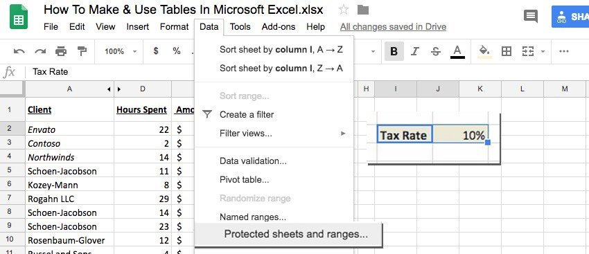 How To Lock Cells In Google Sheet