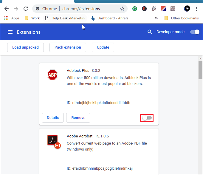 Disable Adblock from your browser